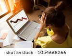 woman serious working on a... | Shutterstock . vector #1054668266