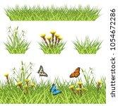 green grass  spring flowers ... | Shutterstock .eps vector #1054672286