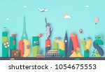 summer holidays. travel and... | Shutterstock .eps vector #1054675553