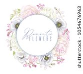 vector botanical wreath with... | Shutterstock .eps vector #1054676963