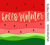 hello summer text and... | Shutterstock .eps vector #1054679876