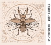 illustration of a stag beetle... | Shutterstock .eps vector #1054688588