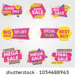 collection of sale discount... | Shutterstock .eps vector #1054688963