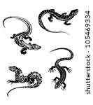 Fast Lizards In Black Color An...
