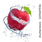 Red Apple With Water Splash ...