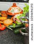 modern european kitchen with... | Shutterstock . vector #1054696193