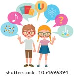 two school pupils girl and boy... | Shutterstock .eps vector #1054696394