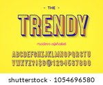 font trendy colorful 3d... | Shutterstock .eps vector #1054696580
