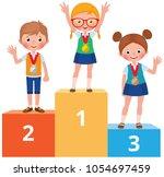 children students in school... | Shutterstock .eps vector #1054697459