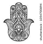 black illustration of hamsa...   Shutterstock .eps vector #1054700894