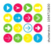 set of 16 right arrow icons.... | Shutterstock .eps vector #1054713830