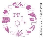 foods rich in vitamin pp. beans ...   Shutterstock .eps vector #1054719983