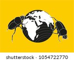 two scarabs roll the earth.... | Shutterstock .eps vector #1054722770