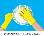 hand in gloves with sponge wash ... | Shutterstock .eps vector #1054725668