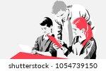 pupils with teacher   Shutterstock .eps vector #1054739150