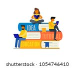 people reading books sitting on ... | Shutterstock .eps vector #1054746410