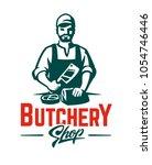 vector butcher emblem.... | Shutterstock .eps vector #1054746446