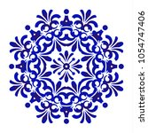 mandala pattern blue and white  ... | Shutterstock .eps vector #1054747406