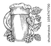 beer mug and hops plant... | Shutterstock . vector #1054747700