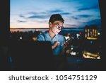 serious female entrepreneur... | Shutterstock . vector #1054751129