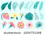 set of tropical leaves and... | Shutterstock .eps vector #1054751348