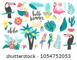 summer set of design elements... | Shutterstock .eps vector #1054752053