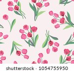 beautiful tulip flower vector... | Shutterstock .eps vector #1054755950