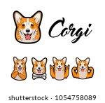 corgi. middle finger  bone ... | Shutterstock .eps vector #1054758089