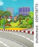 cartoon scene of some city in... | Shutterstock . vector #1054758773