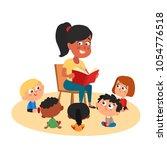 teacher reading for cute kids...   Shutterstock .eps vector #1054776518