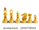 Small photo of Gold chess piece stand in a row (king, queen, bishop, knight, rook, pawn) on white background
