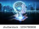 businesswoman on blurred... | Shutterstock . vector #1054780808