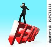 businessman balancing on 3d red ... | Shutterstock . vector #1054788833