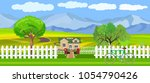 countryside view vector... | Shutterstock .eps vector #1054790426