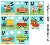 alphabet card with transport... | Shutterstock .eps vector #1054799063