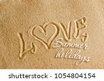 the word love is painted on the ... | Shutterstock . vector #1054804154