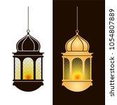 hanging arabic lamps. islam...   Shutterstock .eps vector #1054807889