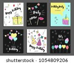 happy birthday greeting cards... | Shutterstock .eps vector #1054809206