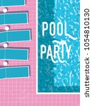 summer pool party invitation... | Shutterstock .eps vector #1054810130