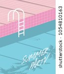summer pool party invitation... | Shutterstock .eps vector #1054810163