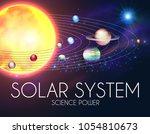 solar system with elegant...   Shutterstock .eps vector #1054810673