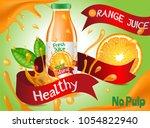 glass drinking bottle filled... | Shutterstock .eps vector #1054822940