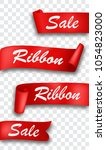 red ribbon banner  isolated on... | Shutterstock . vector #1054823000