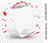 open box with red confetti  ... | Shutterstock .eps vector #1054823009