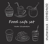 food cafe set morning breakfast ... | Shutterstock .eps vector #1054824650