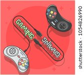 gamepad controllers for 16 bit... | Shutterstock .eps vector #1054826990