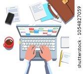 business man hands working in... | Shutterstock .eps vector #1054827059