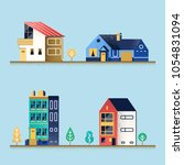 set of houses. suburban house ... | Shutterstock .eps vector #1054831094