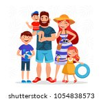 happy family on summer vacation ... | Shutterstock .eps vector #1054838573