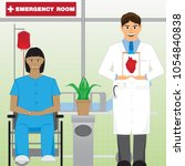 doctor and patient in front of... | Shutterstock .eps vector #1054840838